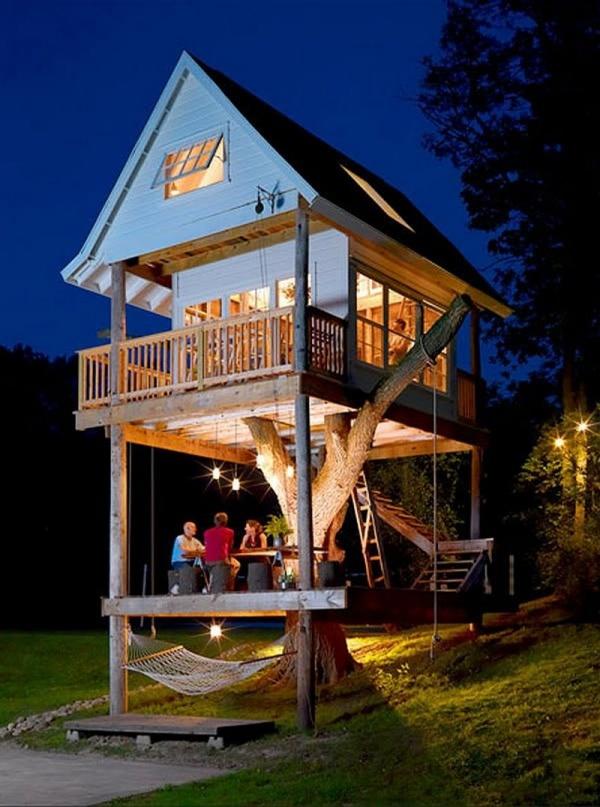 Как сделать маленький дом на дереве