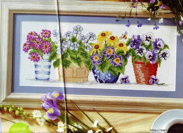 Схемы для цветочной вышивки крестом — очаровательная картинка получится!