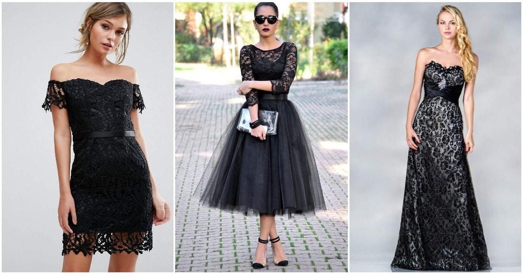 Черное кружево — эффектная деталь стильного платья