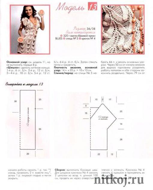 Ажурное платье спицами и крючком