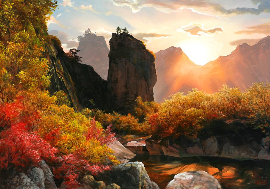 Сказочная корейская живопись, художник Ли Шанг-мун