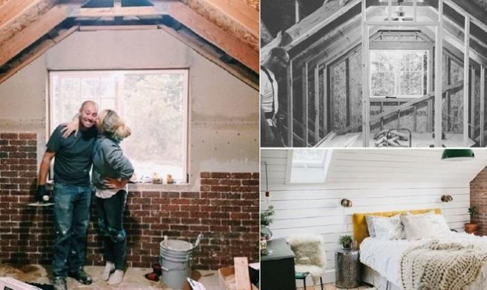Пара освободила от хлама заброшенный чердак и переоборудовала его в полноценный жилой этаж