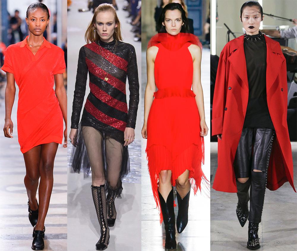 Сочетание черного с красным –  модные образы с платьями