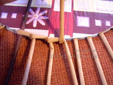 Плетение крышки для корзинки с картонным дном