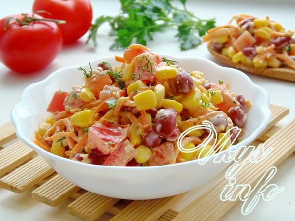 Салат с кукурузой, фасолью и морковью-по корейски