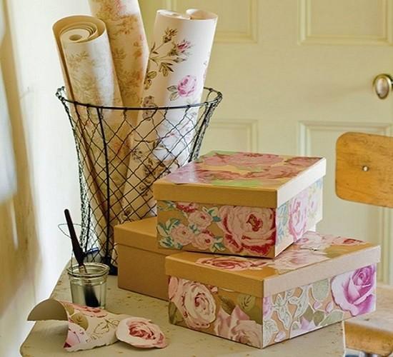 Коробки для хранения. декор, куски, обои, остатки сладки
