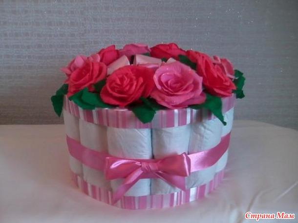 """Подарок """"Торт"""" из памперсов. Идеи и воплощение."""
