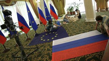 Подготовка Международного пресс-центра к Саммиту Россия-ЕС, архивное фото