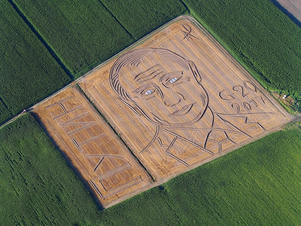 """Фермер из Италии трактором """"нарисовал"""" на поле портрет Путина"""