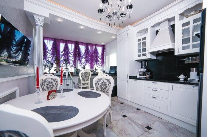 фиолетовая тюль в кухне