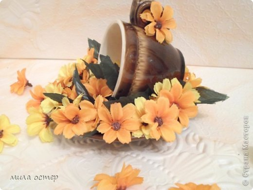 Мастер-класс Поделка изделие Флористика День рождения Цветочная кружечка Клей фото 15