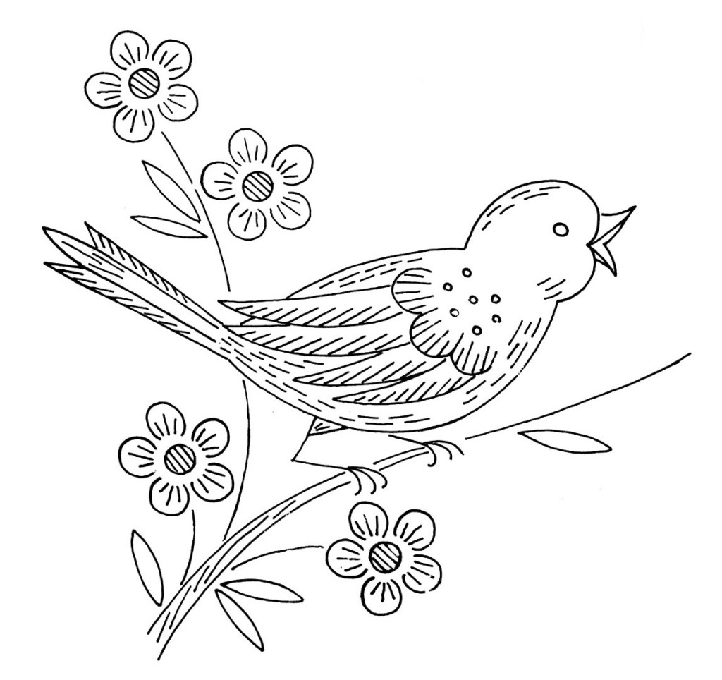 "Вышивка гладью  — шаблоны для вышивки на тему ""Цветы и птицы"""