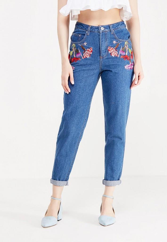 джинсы с высокой талией и вышивкой