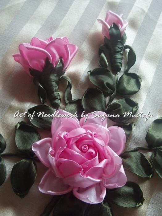 Розы атласных лент своими руками мастер класс