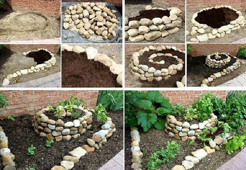 Простая идея оформления клумб из камней
