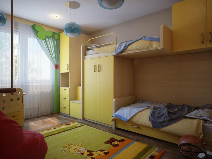 Дизайн детской для двоих детей 12 кв.м