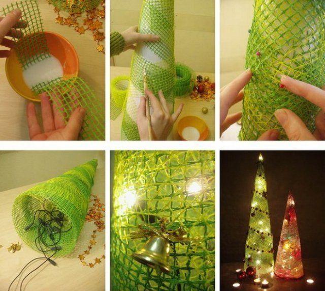 Как сделать елку из флористической сетки