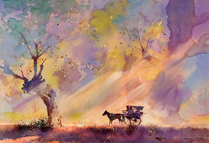 Акварельные картины художник Мьё Вин Онг 25