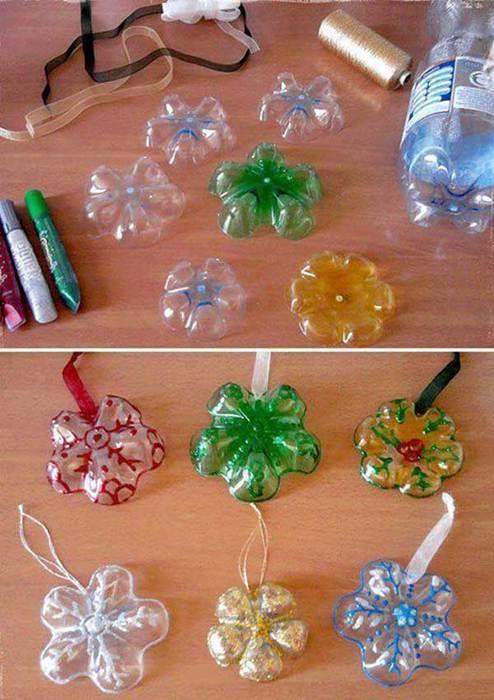 Елочное украшение из пластиковых бутылок своими руками