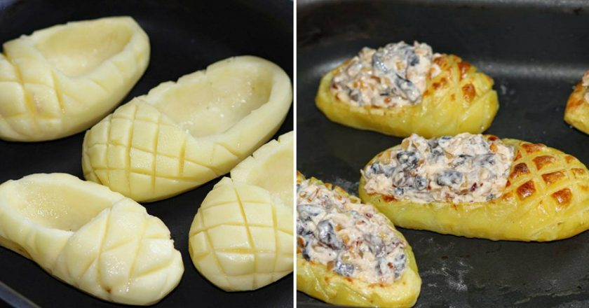 «Лапти» из картофеля с грибн…