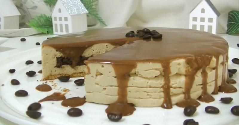 торт без выпечки кофейный