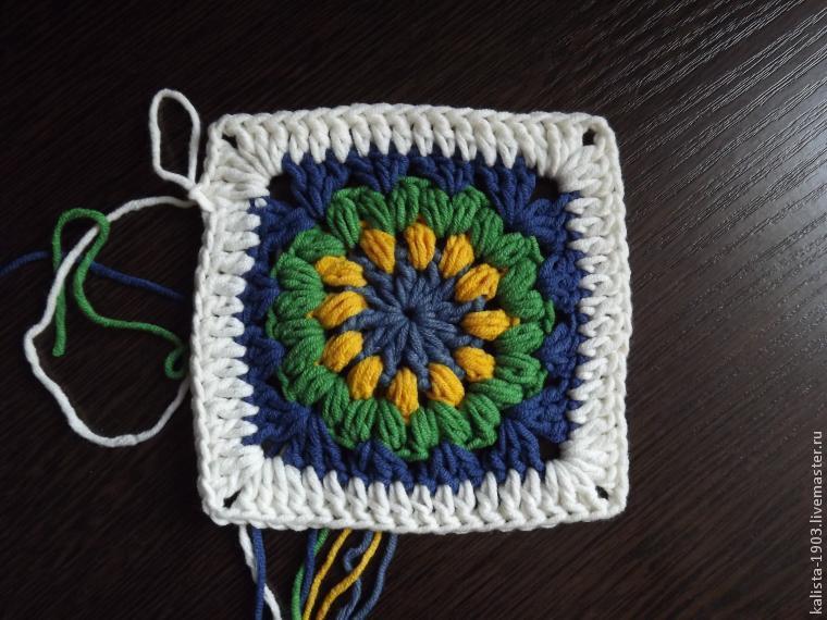 Вязание квадратного мотива с буфами