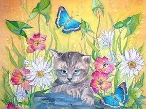 Рисуем котика на шёлке.Пробная работа росписи платочка. МК от Виктории Игнатовой.