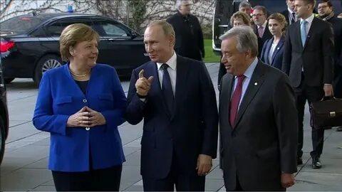 Путин, Меркель и Гуттериш пообщались в Берлине на русском языке