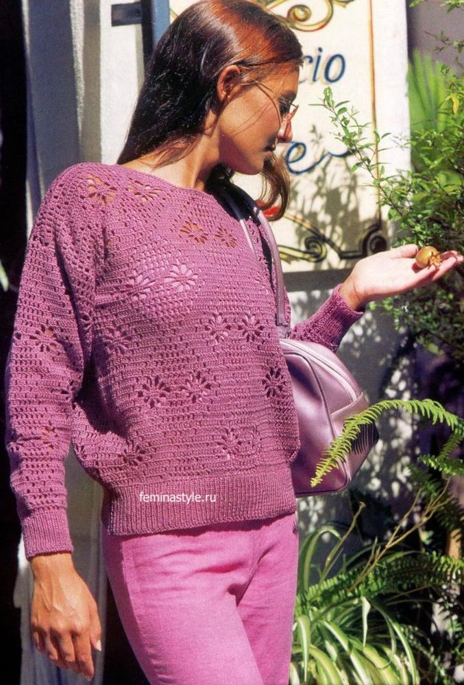 Пуловер с фантазийным узором крючком и спицами