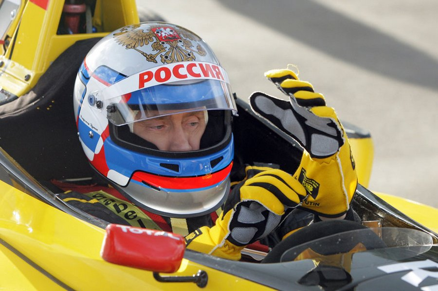 President of the Russian Federation in the form of a helmet and the Renault Formula 1, before going on the car on the highway near St. Petersburg, November 7, 2010.