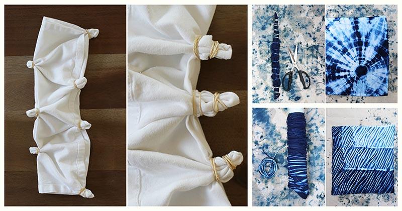 Скрутите ткань и просто опустите в краску, чтобы получить потрясающие узоры