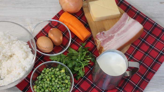Рисовая запеканка с грудинкой и овощами Еда, Видео рецепт, Запеканка, Рис, Второе, Рисовая запеканка, Ужин, Длиннопост, Видео
