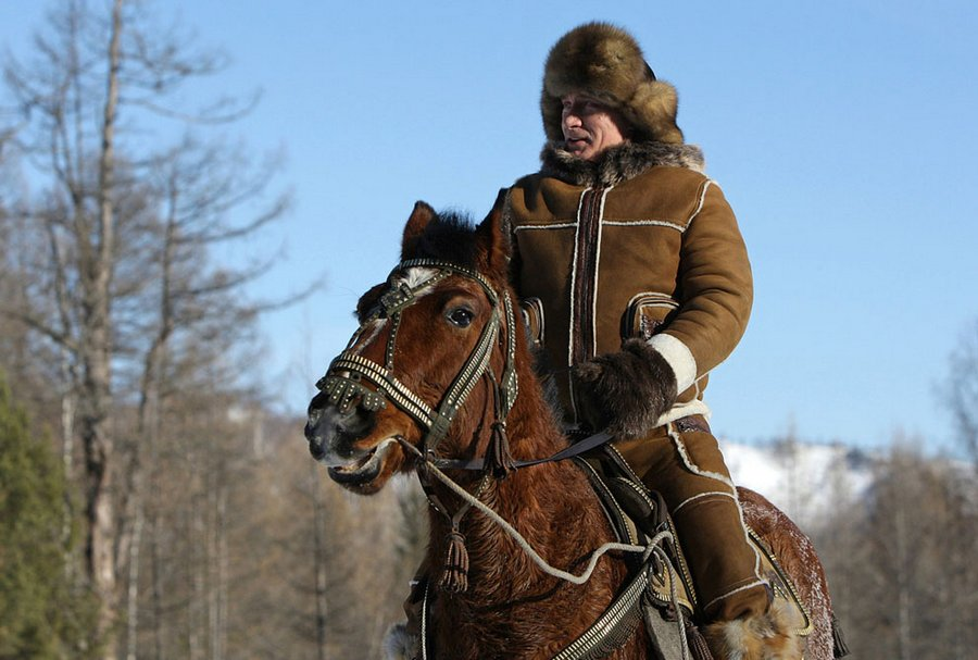 Vladimir Putin for a ride in the area of ​​Karatas, near the town of Abakan, during his visit to the Republic of Khakassia, February 25, 2010.