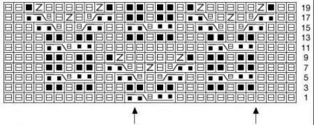 Схемы объемных узоров спицами.