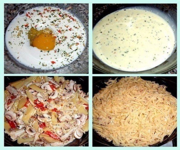 Картофельная запеканка с грибами и курицей: лучше ужина не придумать