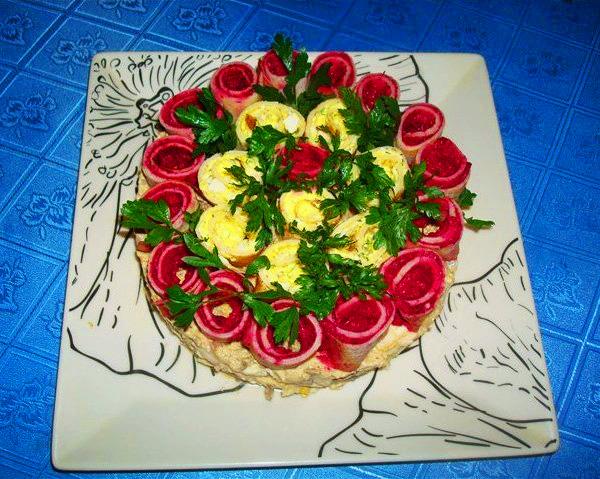 салат три белых розы пошаговый рецепт