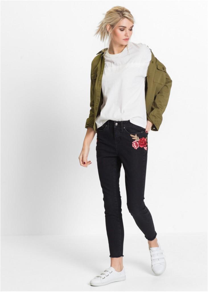 джинсы с розой