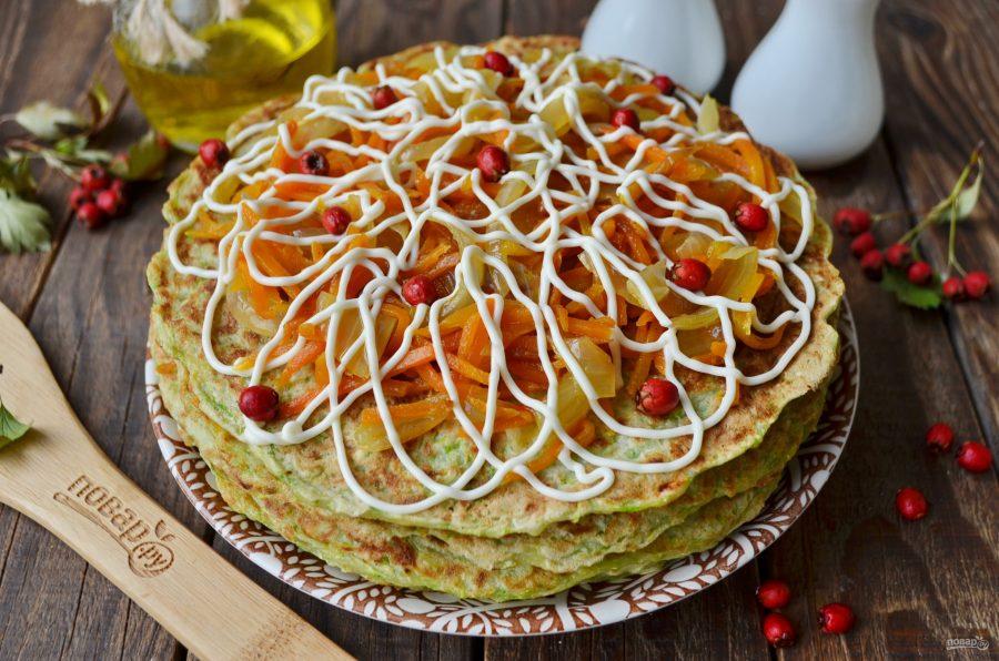 Торт из кабачков с морковью и луком