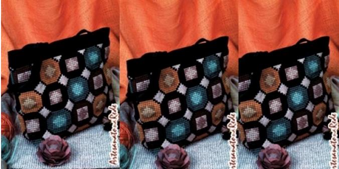 Сумка из мешковины с геометрической вышивкой крестом