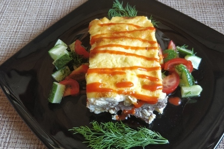 Фото к рецепту: Мясо в омлете