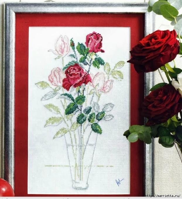 Схемы для вышивки крестом  букета роз
