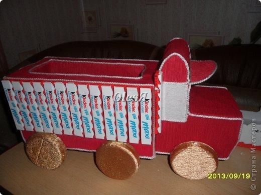 Мастер-класс Свит-дизайн День рождения Моделирование конструирование киндер-грузовик и мини МК по каркасу к нему Бумага гофрированная Киндер-сюрприз фото 13