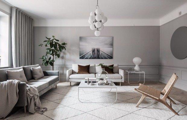 Чем разбавить серый интерьер: пример квартиры в Швеции