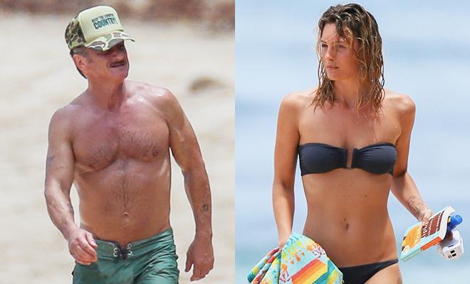 Повторение программы: Шон Пенн в любимых зеленых плавках и его молодая возлюбленная на Гавайях