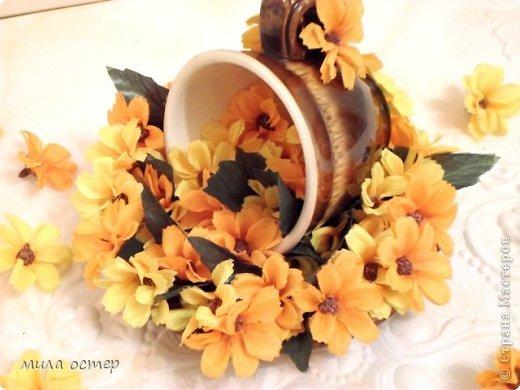 Мастер-класс Поделка изделие Флористика День рождения Цветочная кружечка Клей фото 21