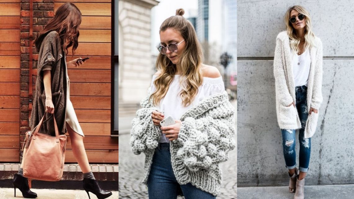 Утепляемся: как и с чем носить вязаный кардиган, чтобы выглядеть стильно?