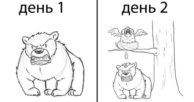 Все начинается с медведя: художник дорисовывал каждый день по одному персонажу, и вот что получилось через 19 дней