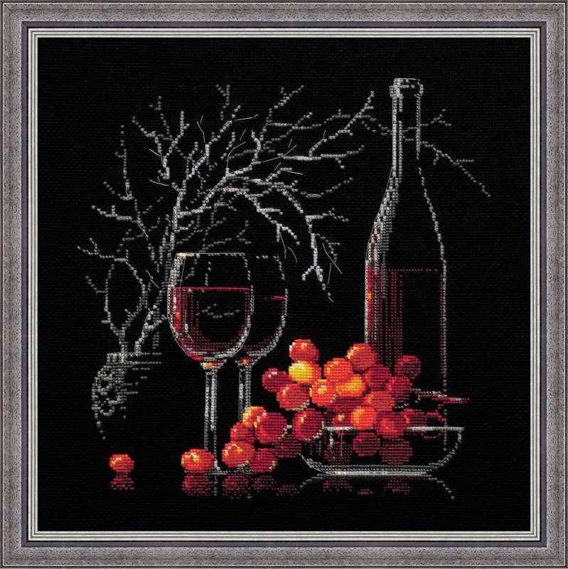 """Схема для вышивки крестом """"Натюрморт с красным вином""""(Riolis 1239)"""