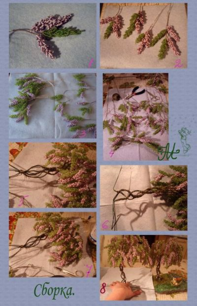 Дерево глициния из бисера