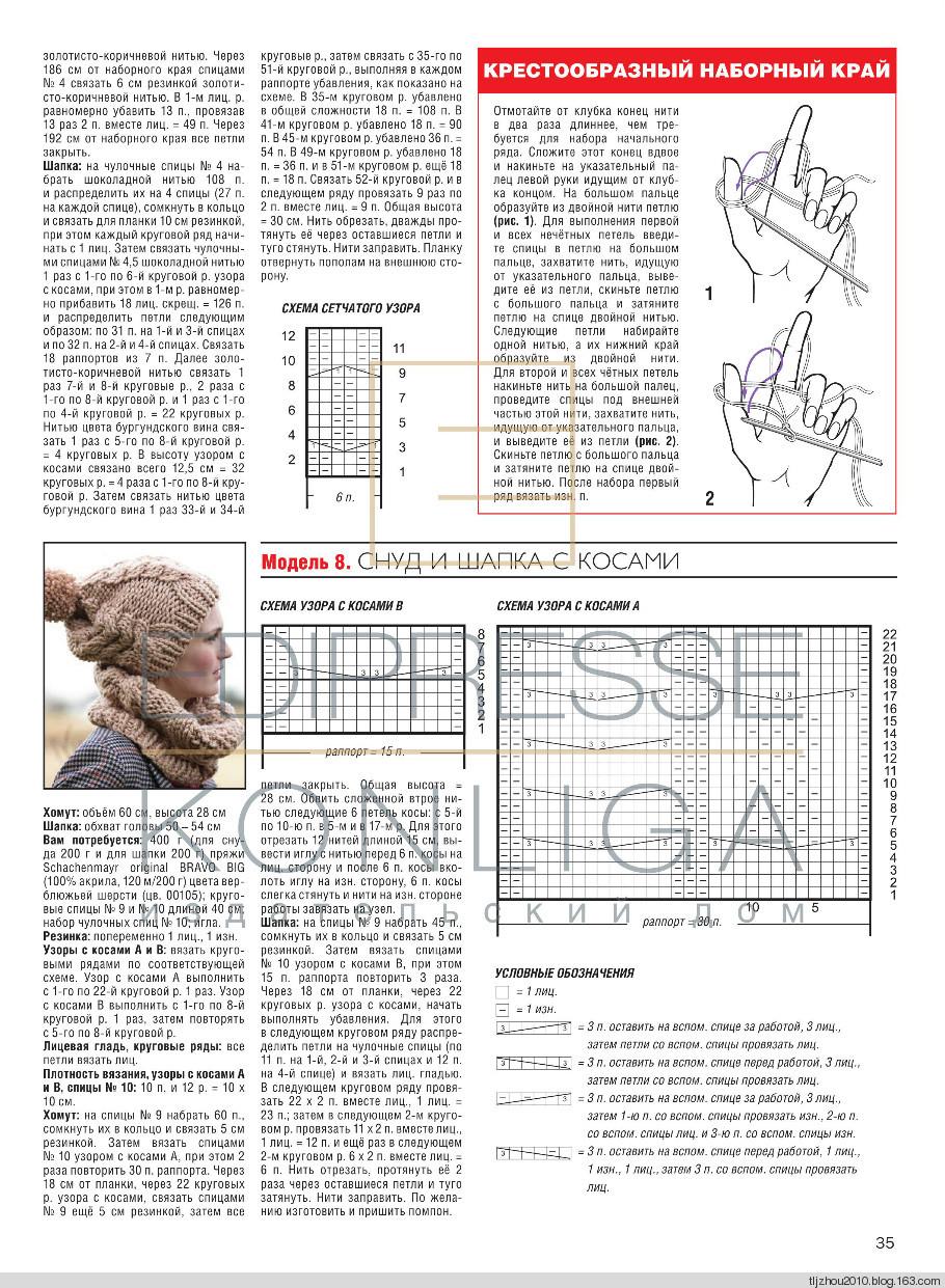 Шарф снуд-хомут схема вязания спицами - Мой секрет 16